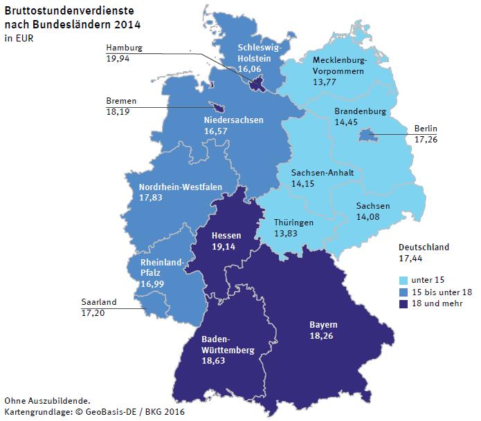 Bruttostundenverdienste in Deutschland